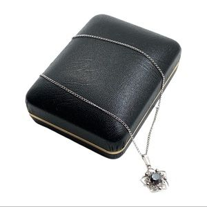 NOS Vtg Sterling Black Crystal Pendant Necklace